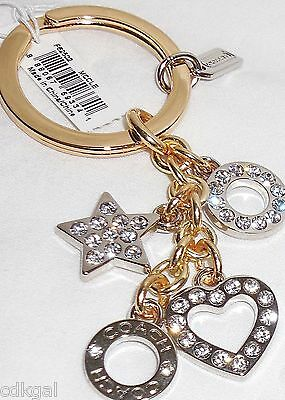 NWT Coach Key Chain Ring Rhinestone Pave Heart Star 62502 Silver Gold Crystal