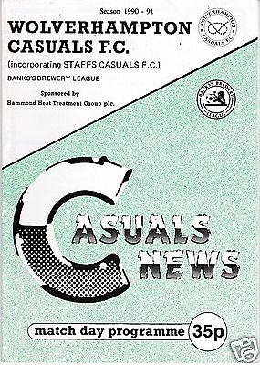 WOLVERHAMPTON CASUALS  V HINCKLEY ATHLETIC  WEST MIDLANDS LEAGUE   26/1/91