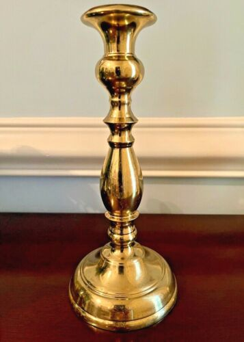 """Vintage VMC Virginia Metalcrafters Polished Brass 8"""" Tulip Candlestick #3015"""