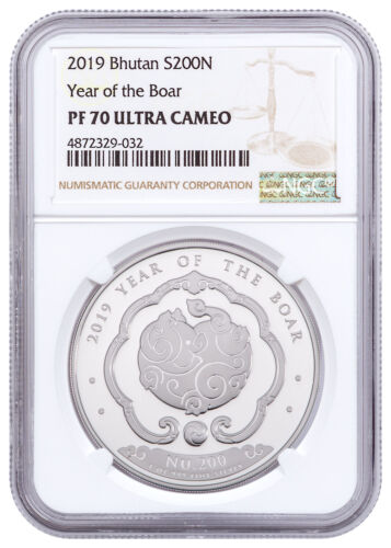 2019 Kingdom of Bhutan 1 oz Silver Lunar Year Boar Coin 200N NGC PF70 SKU56300