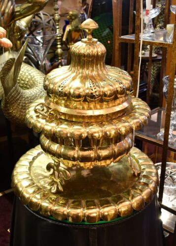 Large Vintage Turkish Brass Brazier with Underplate, Mangal