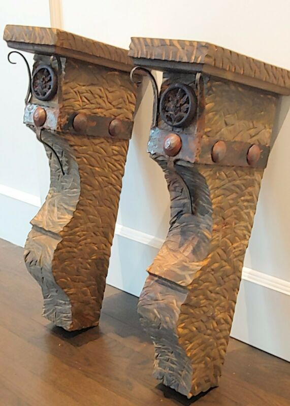 """2 Large  Rustic Lodge Western Mantle Iron Clavos CORBELS Decor 21.5"""" TALL"""