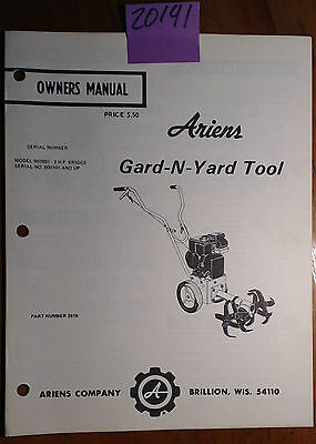 Ariens Gard-n-yard Cultivator Tiller 902081 2 Hp Owners Parts Manual 2818