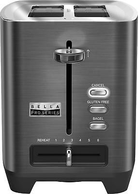 Bella - Pro Series 2-Slice Reserve-Wide-Slot Toaster - Black stainless steel
