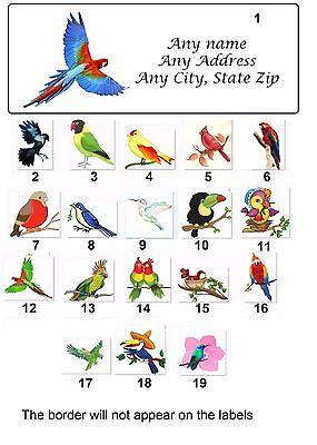 30 Personalized Return Address Labels Birds Buy 3 get 1 free (bir1)
