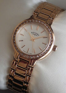 Rotary Ladies LB03885/02 Rose Gold Plated Strap Swiss Movement Watch - NEW