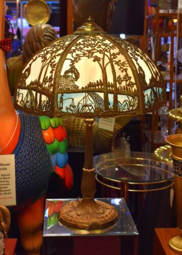 Antique Miller Slag Glass Lamp (ML CO #234) Circa 1915 Absolutely Beautiful!