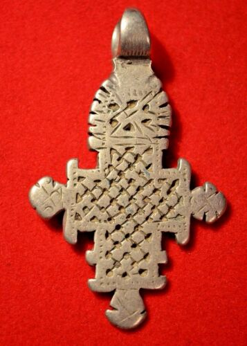 Antique Ethiopian Orthodox Christian Cross Silver Pendant Ethiopia, Africa