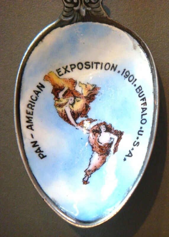 1901 Pan American Exposition ENAMEL spoon - Continents pictured (FREE SHIPPING)
