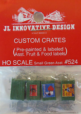 CUSTOM CRATES (4) PAINTED, LABELED -ASSORTED FRUITS & FOOD HO-SCALE  GROUP #524