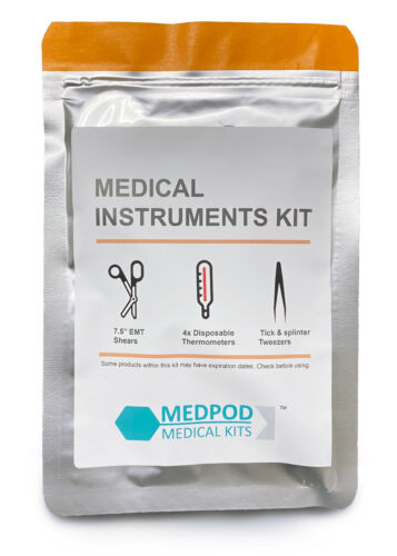 Medical Instruments Kit / EMT Shears, Tweezers, Disposable Thermometers - MedPod