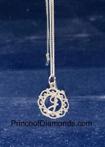 Sterling silver initial letter G pendant & sterling silver chain