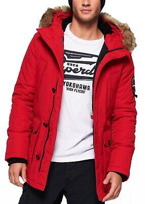 Superdry Faux Fur Parka Jacket Warm Long Hooded Padded Everest Winter Coat Red