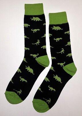 NWT Green Dinosaur Dress Socks Novelty Men's 10-13 Sockfly Black, Fun - Green Dinosaur
