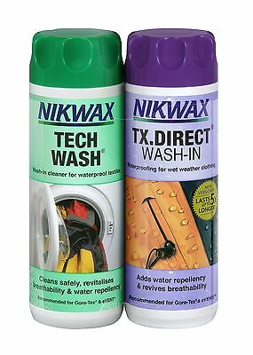 Nikwax Tech Wash & TX Direct 300ml Twin Pack Cleaning Waterproof Outdoor Wear