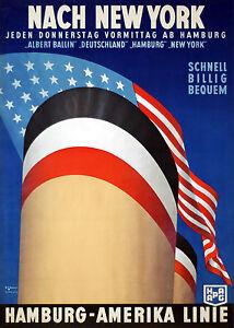 HAMBURG-NEW-YORK-Amerika-Linie-Retro-Da-viaggio-Poster-Promozionale