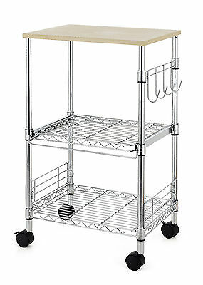 Chrome 3-Tier Wire Rolling Kitchen Cart Utility Food Service Microwave Stand K35