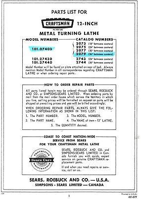 Craftsman-atlas 12 Lathe 101.07403 101.27430 101.27440 Parts Manual