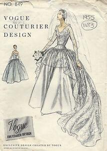 ... Vintage VOGUE Patron de Couture B34 ROBE DE MARIÉE ou ROBE DE SOIRÉE
