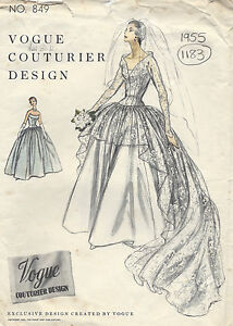 1955 Vintage VOGUE Sewing Pattern B34 BRIDAL DRESS or EVENING DRESS (1183)
