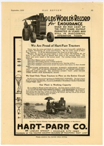 """1916 Hart Parr Tractors Ad: """"Founders of Tractor Industry"""" Charles City, Iowa"""