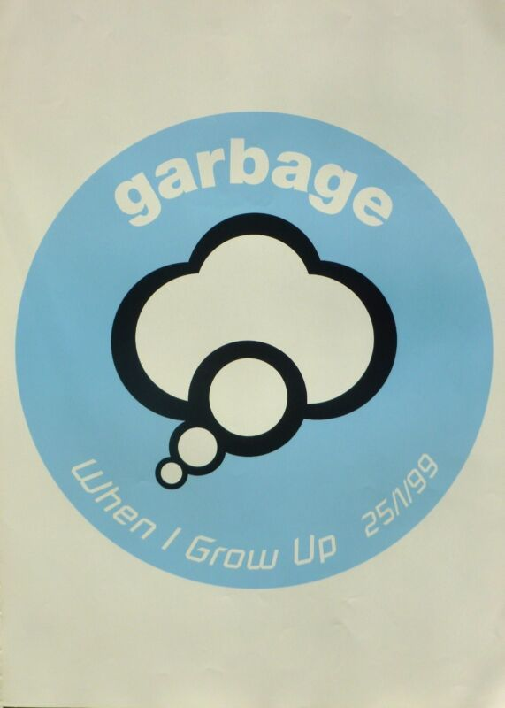 "GARBAGE ""WHEN I GROW UP - 25/1/99"" PROMO POSTER -Shirley Manson, 90"