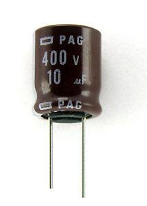 6pcs-Nippon-Chemi-Con-PAG-10uF-400v-105C-Radial-Electrolytic-Capacitor-NCC