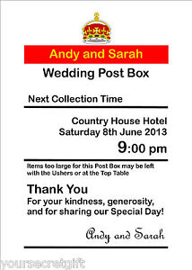 Personalised royal mail post box Wedding Card Box Wishing Well Photo 7x5 Sign