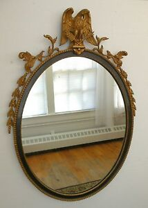 Antique Federal Mahogany And Gilt Oval Mirror Carved Eagle