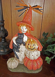 Primitive Folk Art Halloween Antique Reproduction Witch Cat Pumpkin Figurine Set