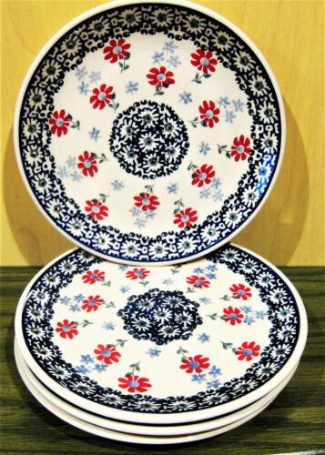 "Boleslawiec Polish Pottery Salad Plate SET of 4 7""  Red Blue Flower NEW"