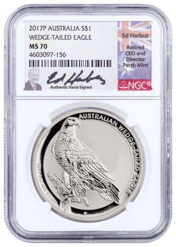 2017-P Australia 1 oz Silver Wedge-Tailed Eagle $1 NGC MS70 Harbuz SKU50543