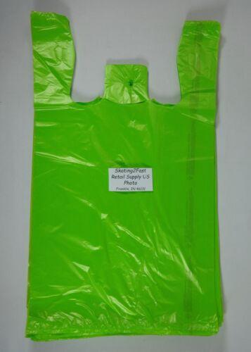 "100 Qty. Lime Green 11.5"" x 6"" x 21"" Plastic T-Shirt Bags w/ Handles Shopping"