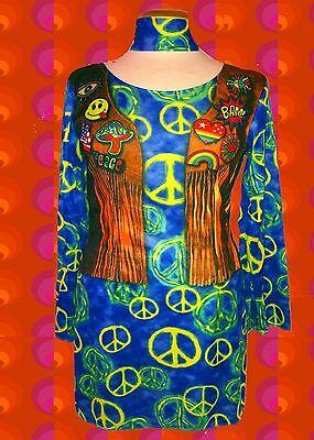 G660✪ Peacezeichen Trompetenärmel Hippie Kleid Kostüm mit Fakedruck bunt Gr. M