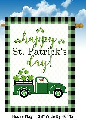 Happy St. Patricks Day   - House Flag  Double Sided Soft Flag    H1255    28x40