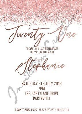 40th Birthday Party Invitations (DIY Print Custom ROSE GOLD GLITTER 18TH 21ST 40TH ETC Birthday Party)