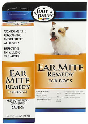 FOUR PAWS DOG EAR MITE REMEDY .75 OZ BOTTLE CLEANER WAX FREE SHIPPING TO THE USA