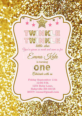 Twinkle Twinkle Little Star birthday Invitations in pink and - Twinkle Twinkle Little Star Invitation