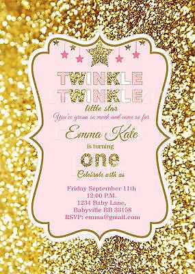 Twinkle Twinkle Little Star birthday Invitations in pink and - Twinkle Twinkle Little Star Invitation
