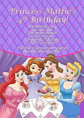 Princess Tea Party Custom Designed Birthday Party Invitation Disney with Sophia - Tea Party Invites