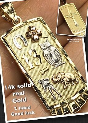 "GOLD 14k Good luck  pendant charm 13 Elephant clover Owl lucky Cross 1.50"" 3.3g ()"