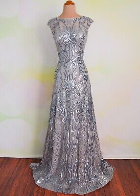 2020 Silver EVENING PROM PAGEANT FORMAL BALL GALA DRESS WEDDING GOWN M 8/10 Pageant Gala Gown Dress