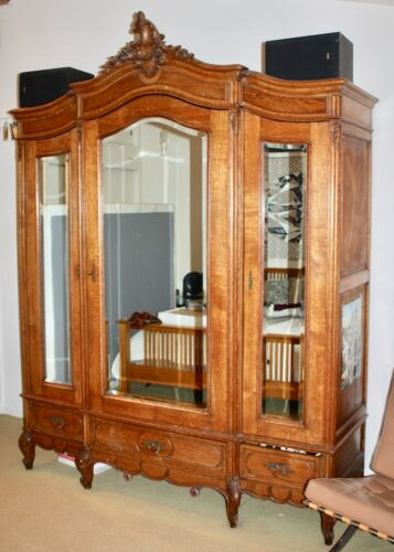 19th Century French Hand Carved Wood Armoire
