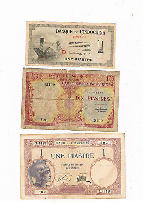 FRENCH INDOCHINA P 48 ,76,107 LOT OF 3 OLD NOTES 1927-53 CIRC
