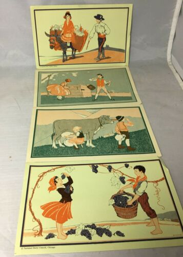"Vintage National Dairy Council Chicago Ads Children Art 4 1/2"" x7 1/2"" Kirkbride"