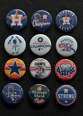 Houston Astros  2017 World Series Champs    Set Of 12 Buttons   Free Shipping