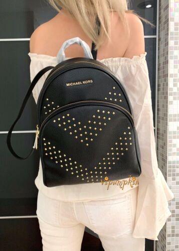 Michael Kors Abbey Medium Studded Backpack Leather Black