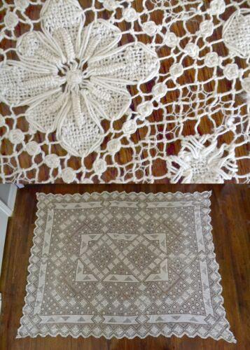 ANTIQUE LINEN WHITE CROCHET LACE 68 X 56 TABLECLOTH VINTAGE BEDSPREAD