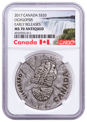 2017 Canada Ancient Ogygopsis 1 oz Silver Antiqued $20 NGC MS70 ER SKU48196