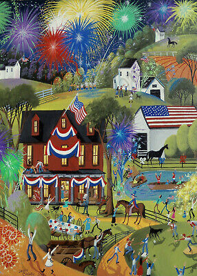 4th Of July Signs (Fourth 4th of July fireworks American art Giclee ACEO print of painting)